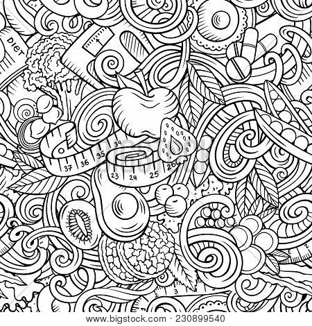 Cartoon Cute Doodles Hand Drawn Diet Food Seamless Pattern. Line Art Detailed, With Lots Of Objects