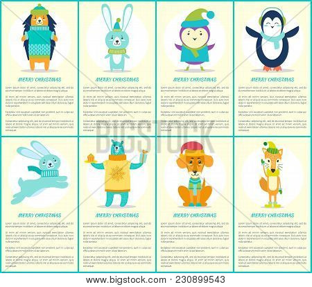 Merry Christmas Greeting Cards With Forest Animals Hedgehog, Hare Rabbit, Bird In Hat, Cute Penguin,