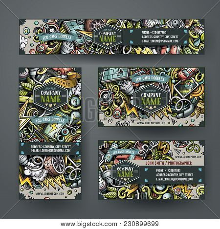 Corporate Identity Vector Templates Set Design With Doodles Hand Drawn Electric Cars Theme. Colorful