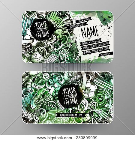 Cartoon Graphics Watercolor Vector Hand Drawn Doodles Football Corporate Identity. 2 Id Cards Design