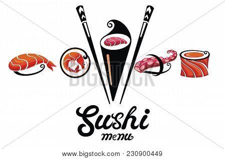 Chopsticks Holding Sushi Roll .concept Illustration Of Snack, Sushi