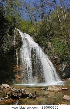 Waterfall. The Famous Waterfall Jur-jur In Crimea In The Tract Haphal.