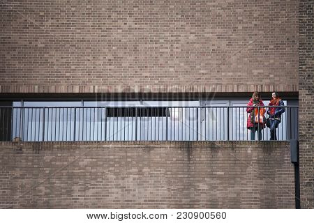 London, Uk - April 22, 2017: Exterior View Of Tate Modern Gallery With People