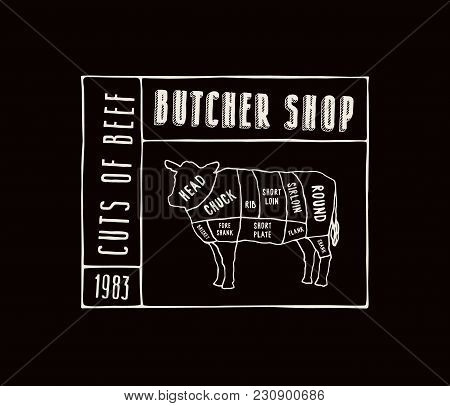 Stock Vector Beef Cuts Diagram In The Style Of Handmade Graphics. Label Template For Butcher Shop. W
