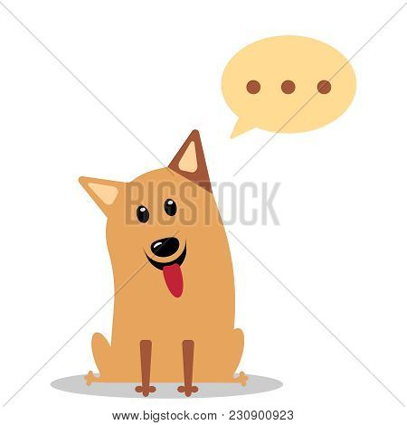Puppy With A Thoughtful Expression And His Eyes Looking Up, Thought Bubbles To Add Your Own Image Or
