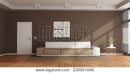 Brown And White Living Room With Elegant Sofa And Closed Door - 3d Rendering