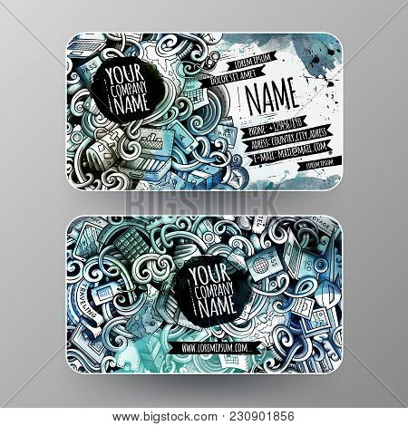 Cartoon Graphics Watercolor Vector Hand Drawn Doodles Travel Corporate Identity. 2 Id Cards Design.