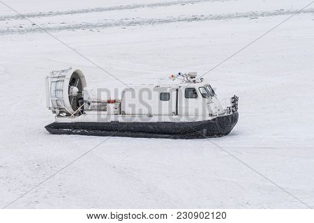Boat Hovercraft On White Ice Snow In Winter