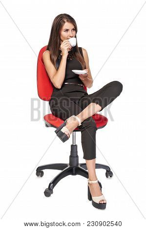 Business Woman Relaxing Drinking Coffee Sitting In Office Chair Looking To Side, Isolated On White B