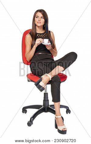 Business Woman Relaxing Sitting On Office Chair With Coffee Cup Looking To Side In Thoughts, Isolate