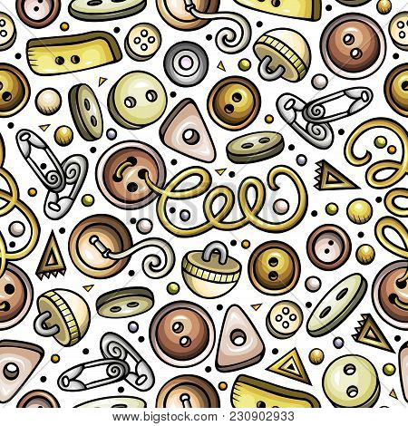 Cartoon Cute Hand Drawn Handmade Seamless Pattern. Detailed, With Lots Of Objects Background. Endles