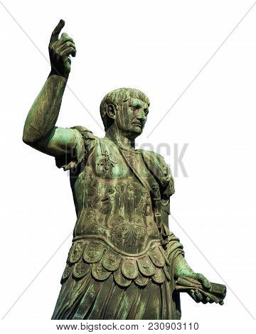 Trajan The Conqueror, One Of The Greatest  Ancient Roman Emperor, Bronze Statue Along Imperial Fora
