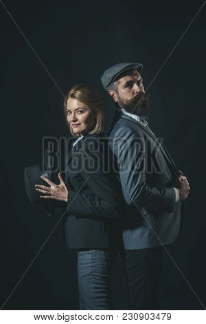 Couple Of Detectives Or Researchers, Private Investigators. Couple In Love With Suspicious Face Work