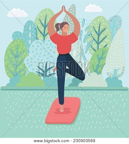 Vector Cartoon Illustration Of Young Girls Practicing Yoga, Standing In Tree Pose On The Park, Natur
