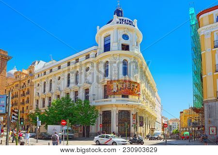 Madrid, Spain- June 05, 2017: Plaza De Jacinto Benavente, Madrid In The Downtown Of The City With To
