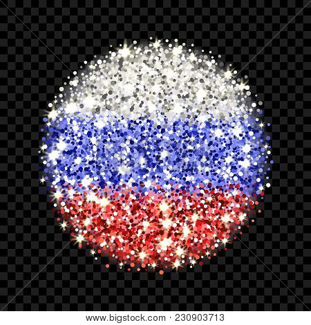 Russian Federation Flag Sparkling Badge. Round Icon With Russia National Colors With Glitter Effect.
