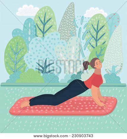 Vector Cartoon Illustration Of Upward Facing Dog Yoga Pose, Yoga Position Posture. Exercise On Park