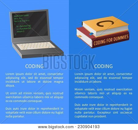 Coding Banner With Portable Computer And Thick Textbooks For Informatics Studies Vector Illustration