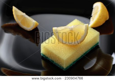 Black Plate And Dish Sponge .