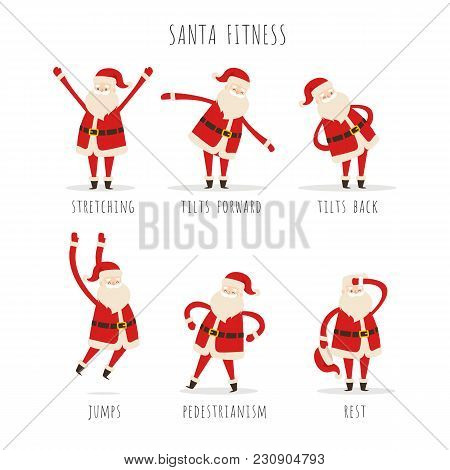 Set Of Active Santa Fitness To Keep Fit In Winter On White Background. Vector Illustration Of Man S