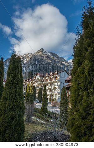 Caraiman Monastery In Busteni Mountains In Romania
