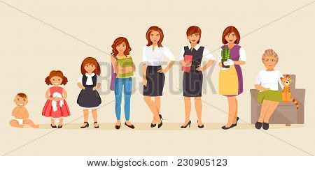 Collection Of Female Age. Development Of Women From The Child To The Elderly. Female Characters. The