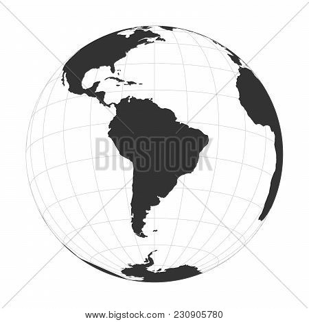 Vector Earth Globe Focused On South America.