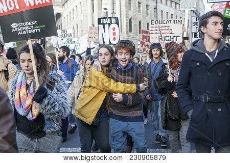 London, Uk. 19th Nov, 2016. Students Protest Against Fees And Cuts And Debt In Central London. Coupl