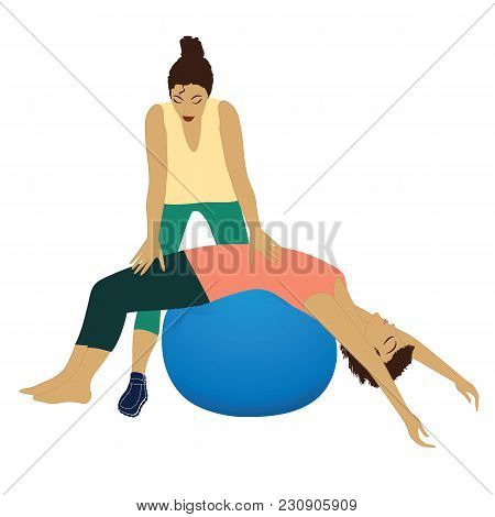 Personal Trainer Woman Yoga Fitness Exercise On The Ball Isolated On White Background Art Creative V