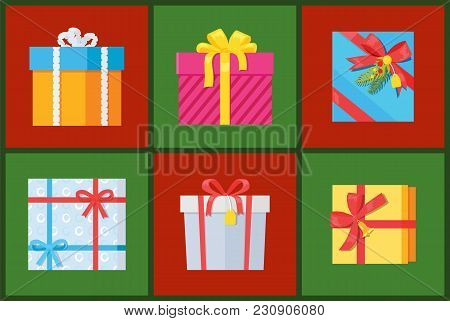 Gift Packs Set, Presents Wrapped In Paper With Red Ribbons, Topped By Pine Bells And Bow, Holiday Bo