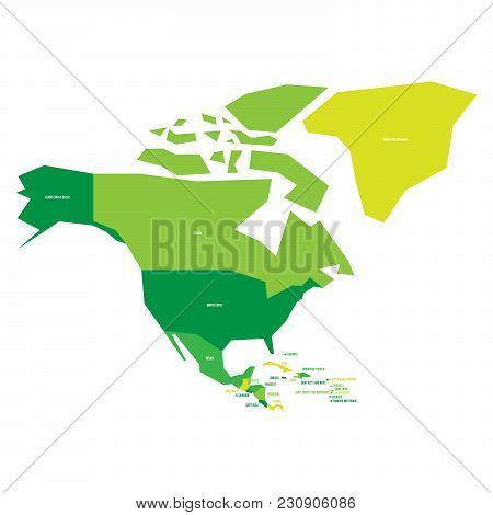 Very Simplified Infographical Political Map Of North America In Green Colors. Simple Geometric Vecto