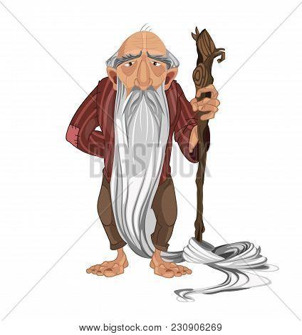 Old Man Shepherd Vector. Cartoon Character Detailed Illustration