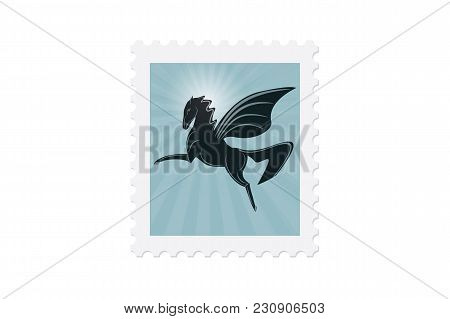 Post Stamp Pegasus In Sunlight Isolated On White Background Artwork Creative Vector Element For Desi