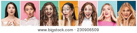 The Collage Of Photos Of Attractive Smiling Happy Women. The Collage Of Faces Of Surprised Girls On