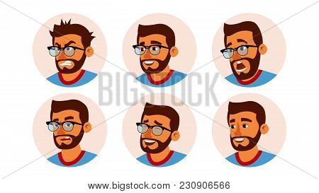 Hindu Character Business People Avatar Vector. Bearded Man Face, Emotions Set. Creative Avatar Place