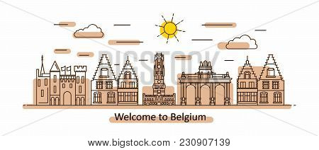 Belgium Panorama. Belgium Vector Illustration In Outline Style With Buildings And City Architecture.