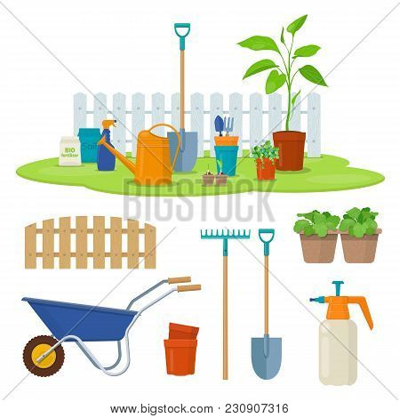 Different Gardening Equipment And Tools Against Wood Fence. Wheelbarrow, Watering Can, Shovel And Ga