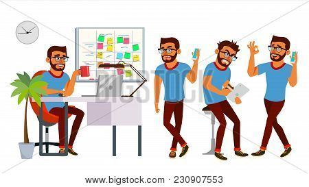 Business Man Character Vector. Working Hindu Man. Bearded. Environment Process Creative Studio. Web