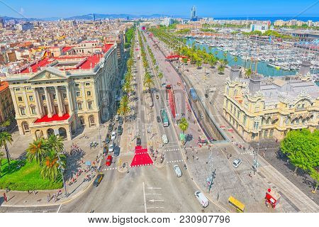 Panorama Of Barcelona From The Monument To Christopher Columbus.