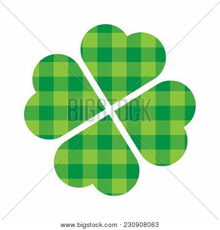 Shamrock Four Leaf Clover Icon. Green Lumberjack Pattern. Saint Patricks Day Symbol.