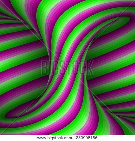 Moving Spiral Patterned Hyperboloid Of Pink Green Stripes. Vector Optical Illusion Illustration.