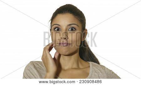 Head Portrait Of Young Attractive And Happy Pensive Woman Thinking And Looking Happy And Excited Iso