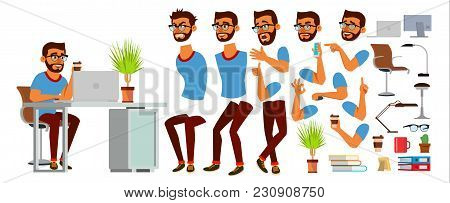 Business Man Character Vector. Working Hindu Male. Business Start Up. Modern Office. Coding, Softwar