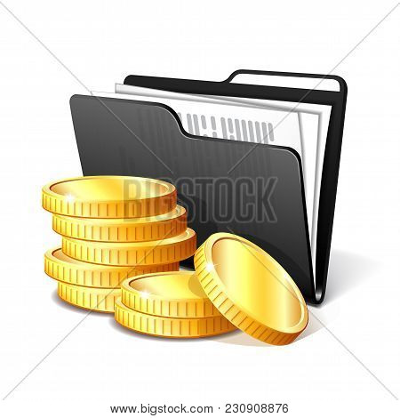Stack Of Gold Coins Next To The Black Folder With Documents, Symbol Of A Successful Business Project