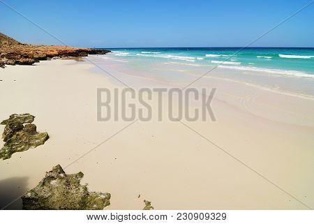The Beautiful Sand Beach Nearby Dihamri On The Indian Ocean Shore At Island Of Socotra, Yemen, Afric