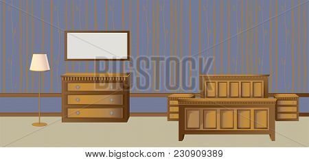 Interior Of The Bedroom With Classic Furniture And Wallpaper With Floral Ornaments In Classic Style