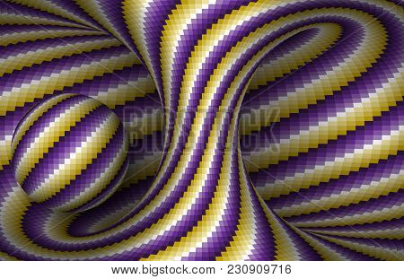 Moving Spiral Hyperboloid And Sphere. Vector Optical Illusion Illustration.