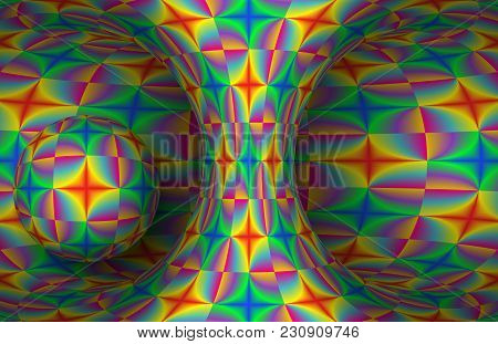 Colorful Futuristic Hyperboloid And Sphere. Vector Abstract Illustration.