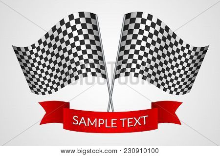 Racing Checkered Flags With A Red Ribbon On A Light Background Vector