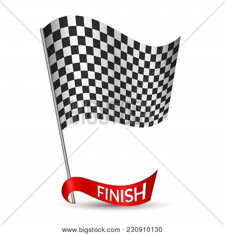 Racing Checkered Flag With Red Ribbon And Inscription Finish On White Background Vector